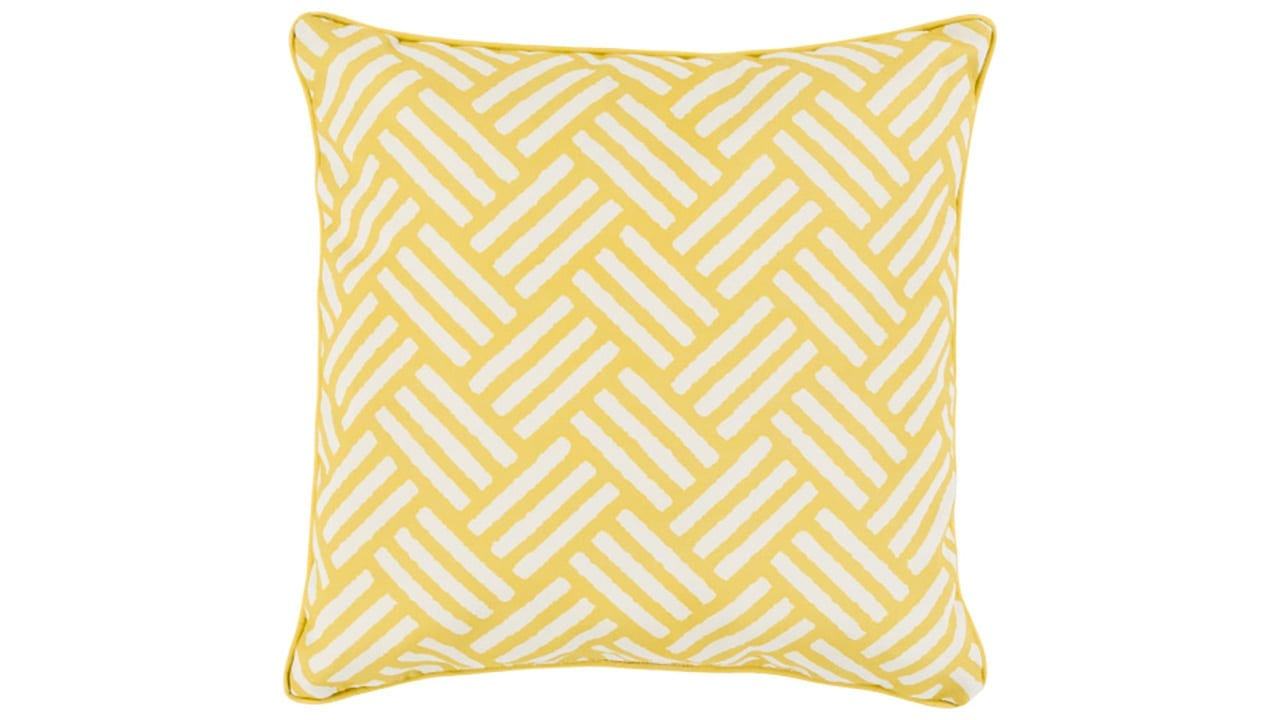 Yellow with Square Patterned Pillow